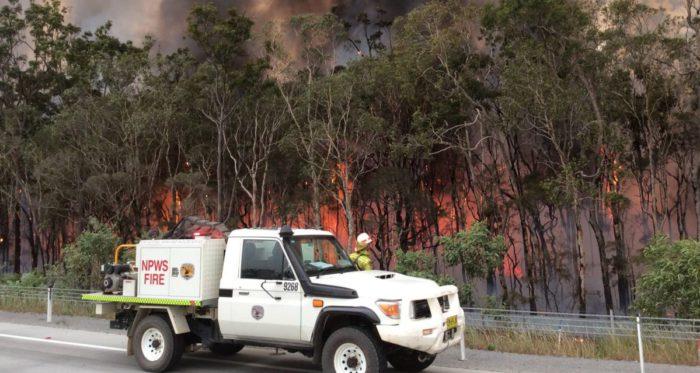 AWU members fighting fire